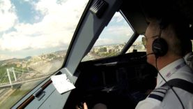 Pilot's and bird's view of WizzAir's fly-by over Budapest
